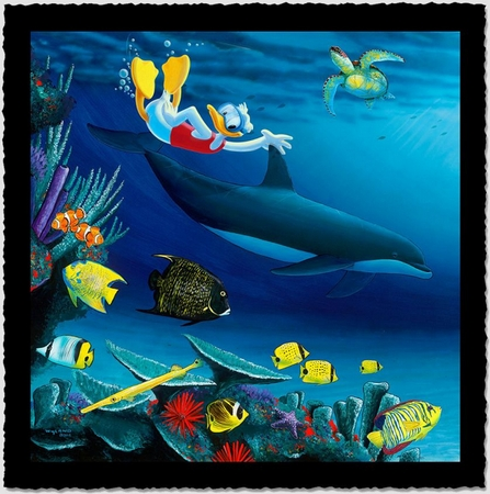 "Wyland Artist Signed Limited Edition Giclee on Hand Deckled Paper:""Donald Diver"""