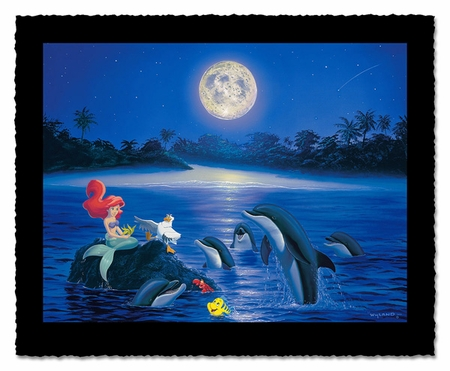 "Wyland Artist Signed Limited Edition Giclee on Hand Deckled Paper:""Ariel's Dolphin Serenade"""