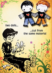 """Two Dolls """"Boys"""" - Gay Anniversary Card - click to enlarge"""