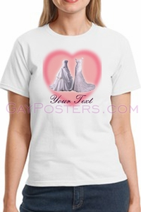 Two Wedding Dresses Personalized Gay Marriage T-Shirt - Click to enlarge