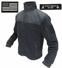 Condor Tactical Jacket - Black Microfleece + Patches