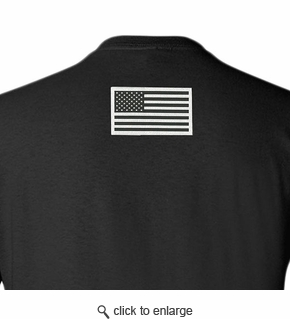 Made in USA T-Shirt - Sewn Flag on Back - Black