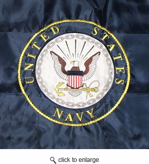 Navy Double Sided Embroidered Flag