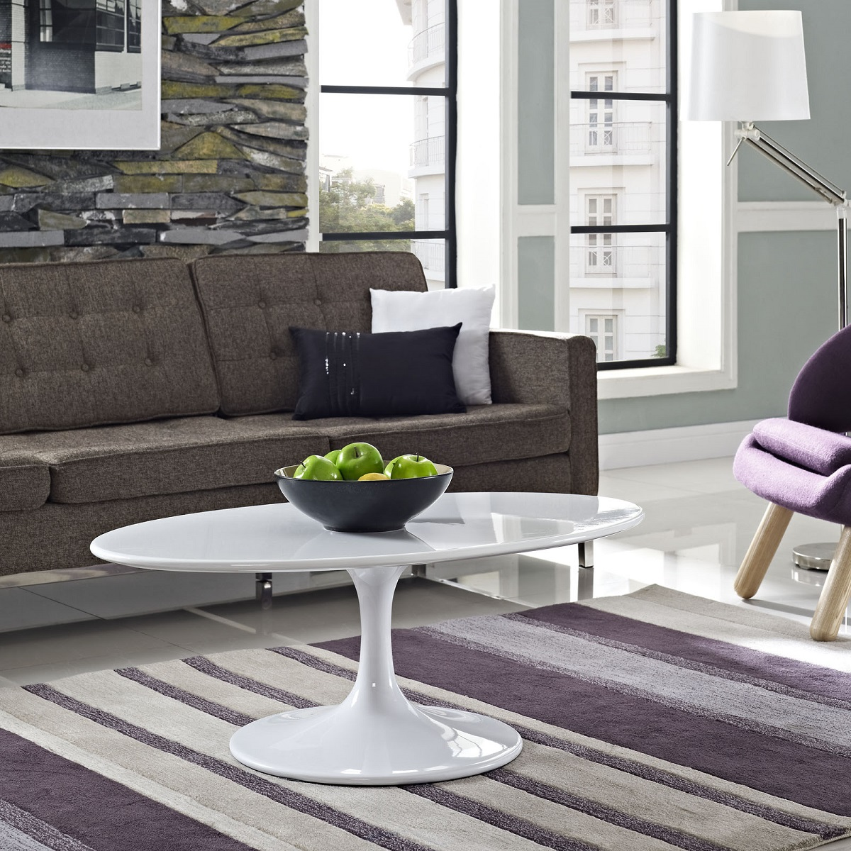 Eerosaarinenovalcoffeetable White Laminate - Saarinen table white laminate
