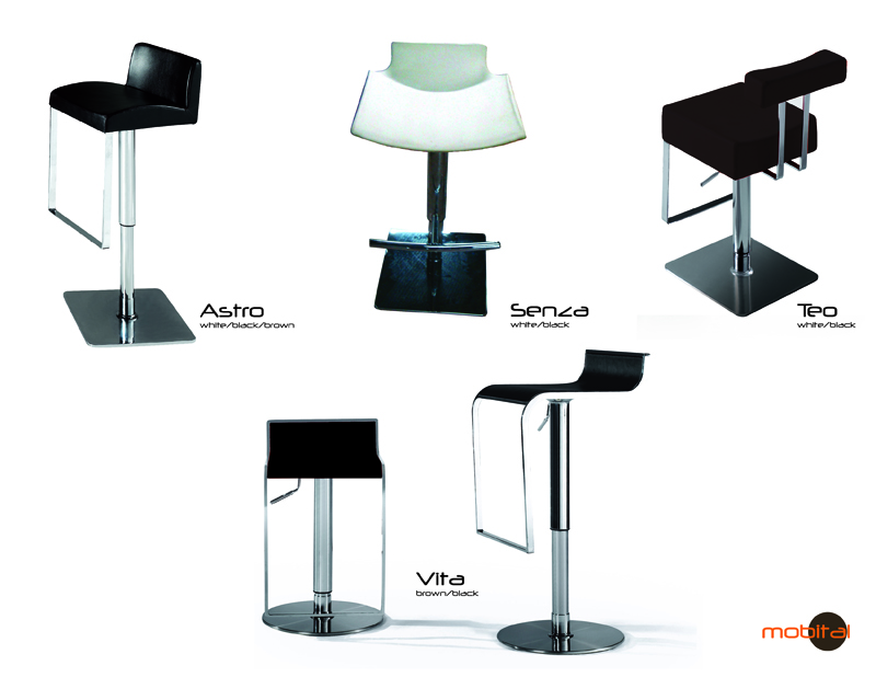 ASTRO Hydraulic Bar Stool With Chrome,polished Stainless By Mobital  Furniture