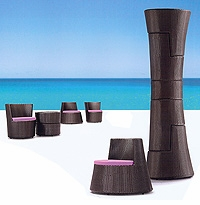 """Column"" Stacking Rattan Patio Furniture Set"