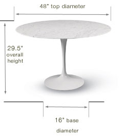 Shop Eero Saarinen Marble Pedestal Table Base Only For Only - Tulip dining table base only