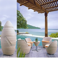 """Egg"" Stacking Rattan Patio Furniture Set"
