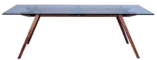 Franz Danish Modern Dining Table With Glass Top