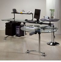 "KIN ""L-Round"" Glass Desk Workstation with Chrome Legs by Ezgo"