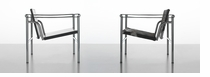 Le Corbusier Basculant Armchair LC1A Black Leather Chrome - Click to enlarge