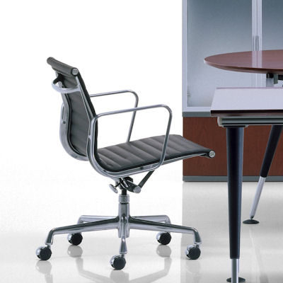 Leather Eames Classic Style Executive Low Back Chair   Click To Enlarge