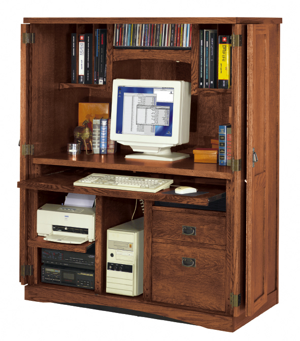 Oak Hidden Office Computer Armoire Click To Enlarge