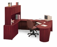 Oval Computer Corner Desk - Shown with optional items (extra price)
