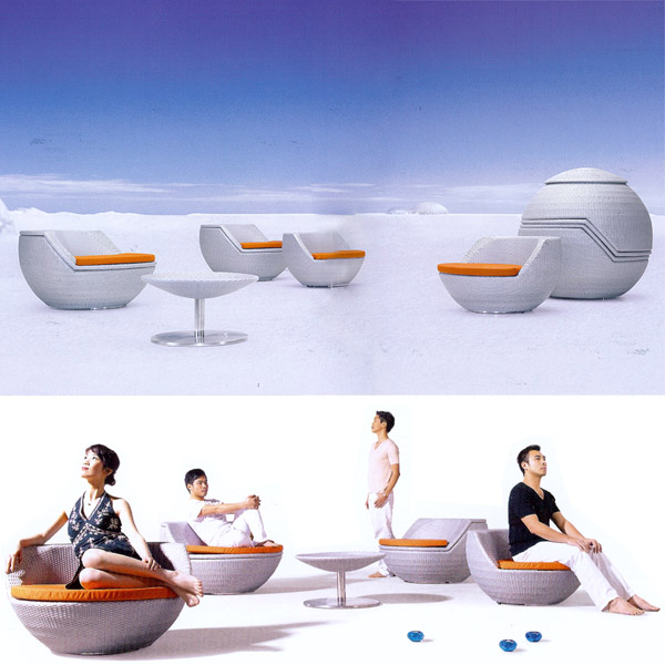 Sphere Stacking Rattan Patio Furniture Set Click To Enlarge