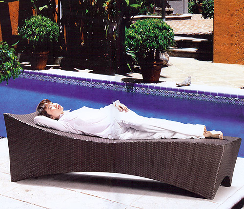 Tropical Slim Patio Chaise Lounger Chair - Click to enlarge