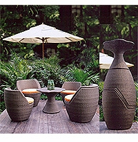 """Vase"" Stacking Rattan Patio Furniture Set"