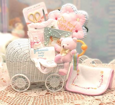 Baby Carriage Gift Basket