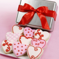 Fancy Hearts Valentine Cookie Tin