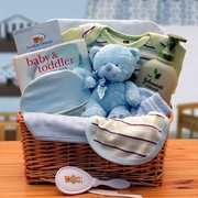 Organic New Baby Boy Basics Gift Basket