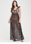 Lovely Lace Sheer Cut-Out Maxi Dress