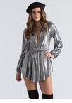 Skirt The Issue Plunging Metallic Romper