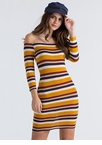 Just Striped Off-Shoulder Knit Dress