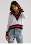 Make Varsity Striped Cable Knit Sweater
