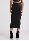 Maxi Out Slit Faux Leather Skirt