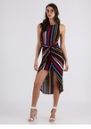 With A Twist Striped High-Low Dress