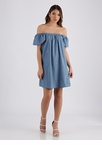 Petal Perfect Off-Shoulder Denim Dress