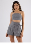 Gingham Girls Crop Top And Shorts Set