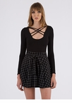 Grid Day To You Tied Skater Skirt