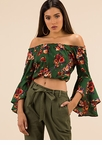 Floral Flare Off-Shoulder Crop Top