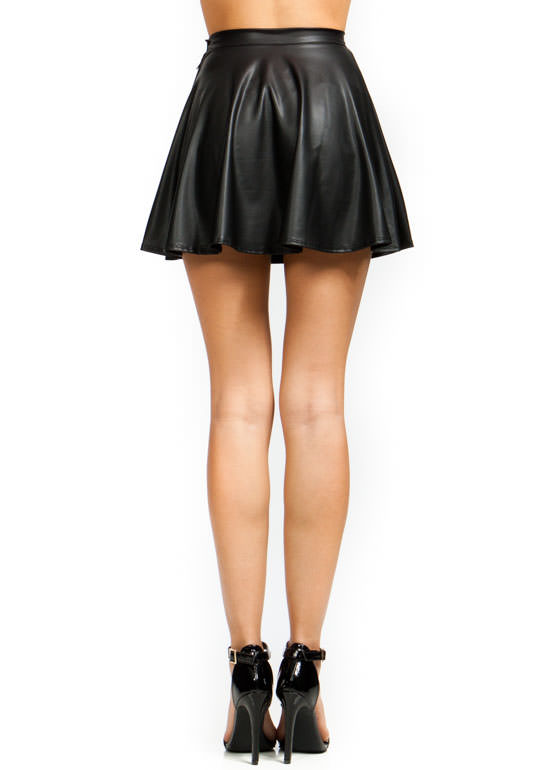 The gallery for --u0026gt; Black Leather Skater Skirt Outfits