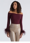 Fine Feather Cuffed Off-Shoulder Top