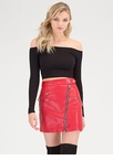 Moto Chic Zippered Faux Leather Skirt