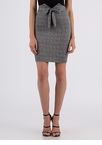 Notch On Your Belt Tie-Front Plaid Skirt