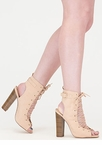 High Power Chunky Laced Faux Suede Heels