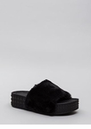 Pyramid Scheme Faux Fur Slide Sandals