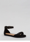 Right Buttons Studded Faux Suede Sandals