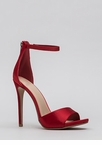 Simply Satisfied Strappy Satin Heels