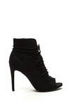 Slit Down Faux Suede Lace-Up Booties