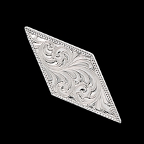 "1 1\/2"" Narrow Diamond Shaped Engraved Concho with Chicago Screw Back (TR2)"