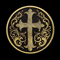 "1\/2"" Antiqued Gold Cross Concho with Chicago Screw Back (C393)"