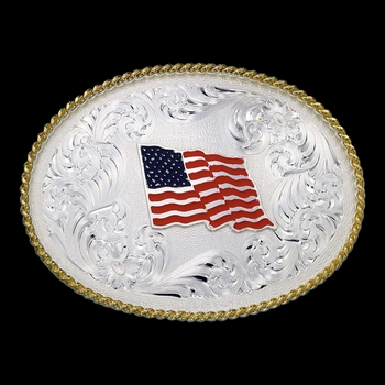 1340 Series US Flag Western Belt Buckle (1340-874)