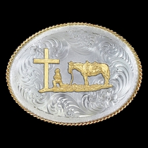 1350 Series German Silver Christian Cowboy Western Belt Buckle (G1350-731)