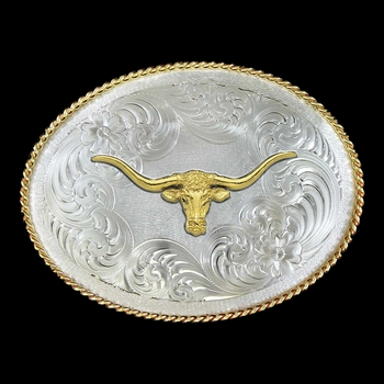 1350 Series German Silver Longhorn Western Belt Buckle (G1350-771)