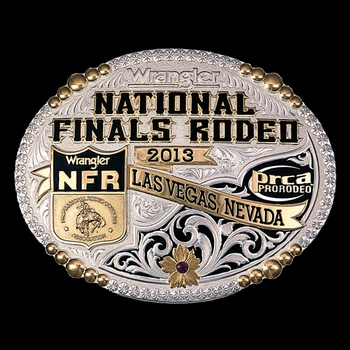 2013 WNFR Silver and Gold Beaded Trim Buckle (NFR513)