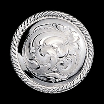 "3\/4"" Rope Trim Engraved Silver Concho with Chicago Screw Back (C212)"
